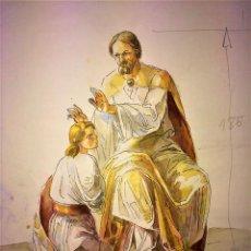 Arte: JESÚS IMPONIENDO LAS MANOS. ACUARELA SOBRE PAPEL. ATRIB. GORGUES. ESPAÑA. CIRCA 1950. Lote 115580979