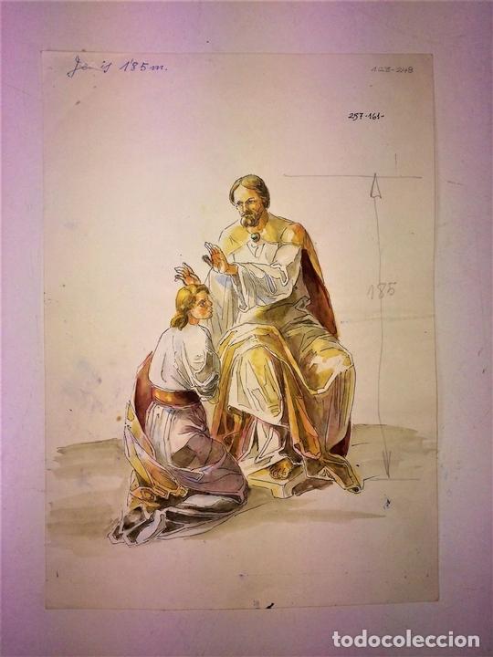 Arte: JESÚS IMPONIENDO LAS MANOS. ACUARELA SOBRE PAPEL. ATRIB. GORGUES. ESPAÑA. CIRCA 1950 - Foto 2 - 115580979