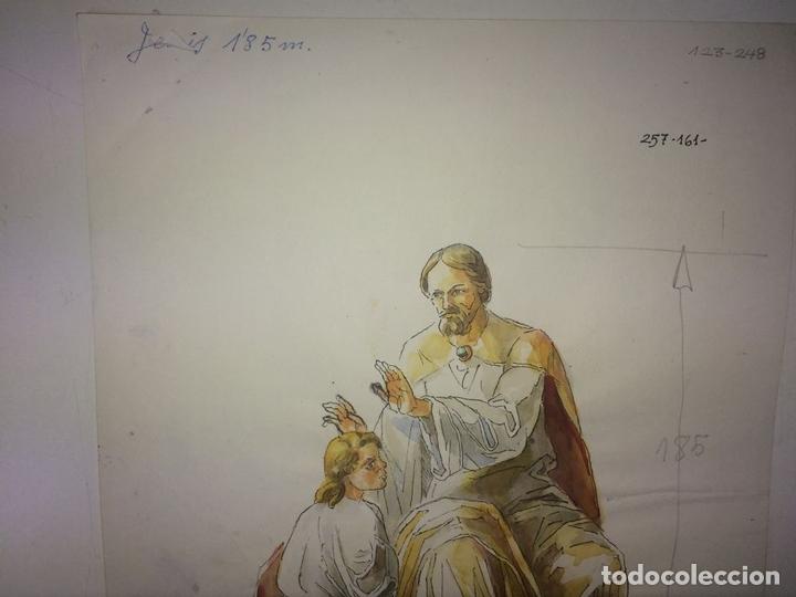 Arte: JESÚS IMPONIENDO LAS MANOS. ACUARELA SOBRE PAPEL. ATRIB. GORGUES. ESPAÑA. CIRCA 1950 - Foto 3 - 115580979