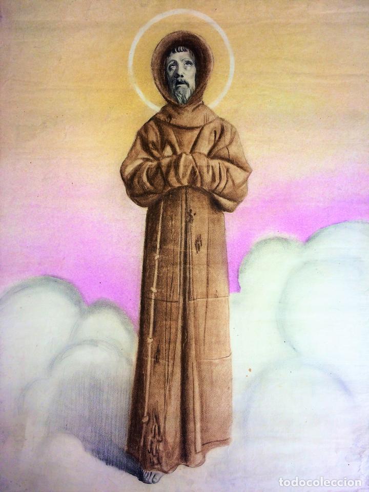 RETRATO DE FRAILE FRANCISCANO. PASTEL SOBRE PAPEL. ESPAÑA. XIX-XX (Arte - Arte Religioso - Pintura Religiosa - Otros)