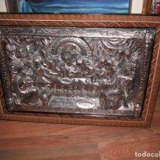 Arte: CUADRO SANTA CENA METAL PLATEADO EN RELIEVE MEDIDA 83 X 59 CM.. Lote 115619907