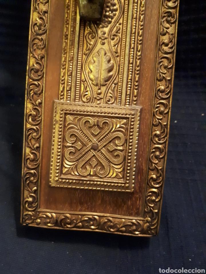 Arte: Gran crucifijo metal tallado y madera principios s XX - Foto 4 - 115644880