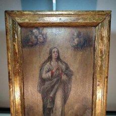Arte: BELLO OLEO SOBRE TABLA DE LA INMACULADA CONCEPCIÓN - SIGLO XVII-XVIII - MARCO DE ÉPOCA - 51X38 CM -. Lote 115786411
