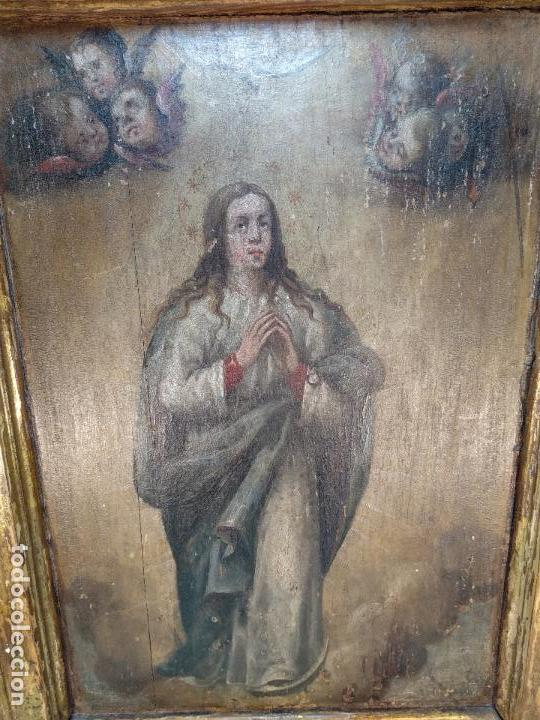 Arte: BELLO OLEO SOBRE TABLA DE LA INMACULADA CONCEPCIÓN - SIGLO XVII-XVIII - MARCO DE ÉPOCA - 51X38 CM - - Foto 2 - 115786411