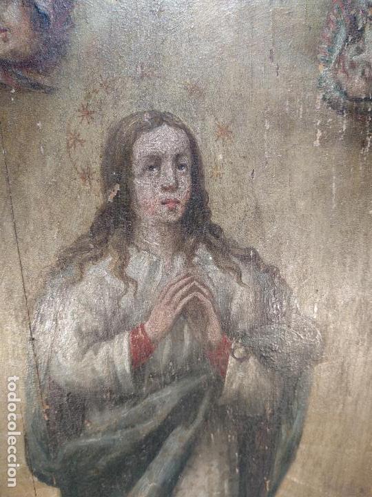 Arte: BELLO OLEO SOBRE TABLA DE LA INMACULADA CONCEPCIÓN - SIGLO XVII-XVIII - MARCO DE ÉPOCA - 51X38 CM - - Foto 3 - 115786411