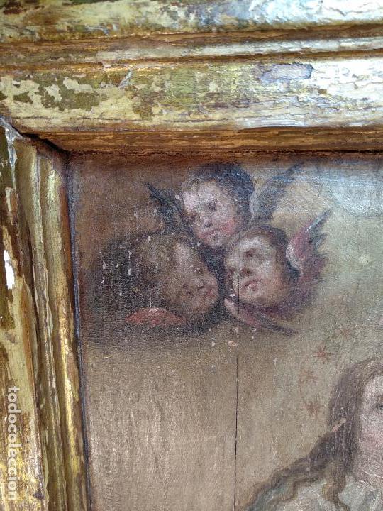 Arte: BELLO OLEO SOBRE TABLA DE LA INMACULADA CONCEPCIÓN - SIGLO XVII-XVIII - MARCO DE ÉPOCA - 51X38 CM - - Foto 4 - 115786411