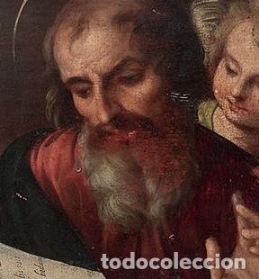 Arte: ESCUELA TOLEDANA de finales del siglo XVI óleo tabla San Francisco San Mateo San Marcos Ángel TOLEDO - Foto 2 - 115919991