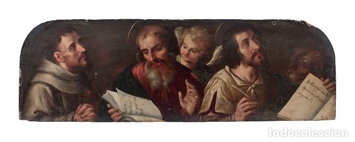 Arte: ESCUELA TOLEDANA de finales del siglo XVI óleo tabla San Francisco San Mateo San Marcos Ángel TOLEDO - Foto 4 - 115919991