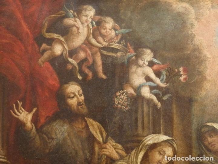 Arte: La Sagrada Familia y San Juanito. Oleo sobre tabla. Italia, siglo XVII. - Foto 5 - 115960783