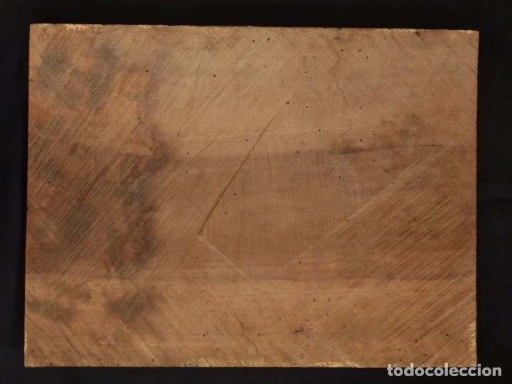 Arte: La Sagrada Familia y San Juanito. Oleo sobre tabla. Italia, siglo XVII. - Foto 13 - 115960783