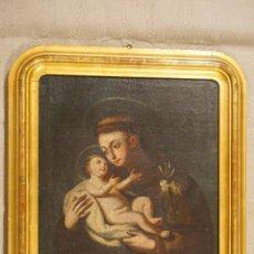 Arte: SAN ANTONIO CON EL NIÑO. ÓLEO. ESCUELA ESPAÑOLA. SIGLO XVIII - XIX.. Lote 116159363