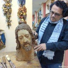 Arte: CABEZA CRISTO MADERA CEDRO. Lote 116309580