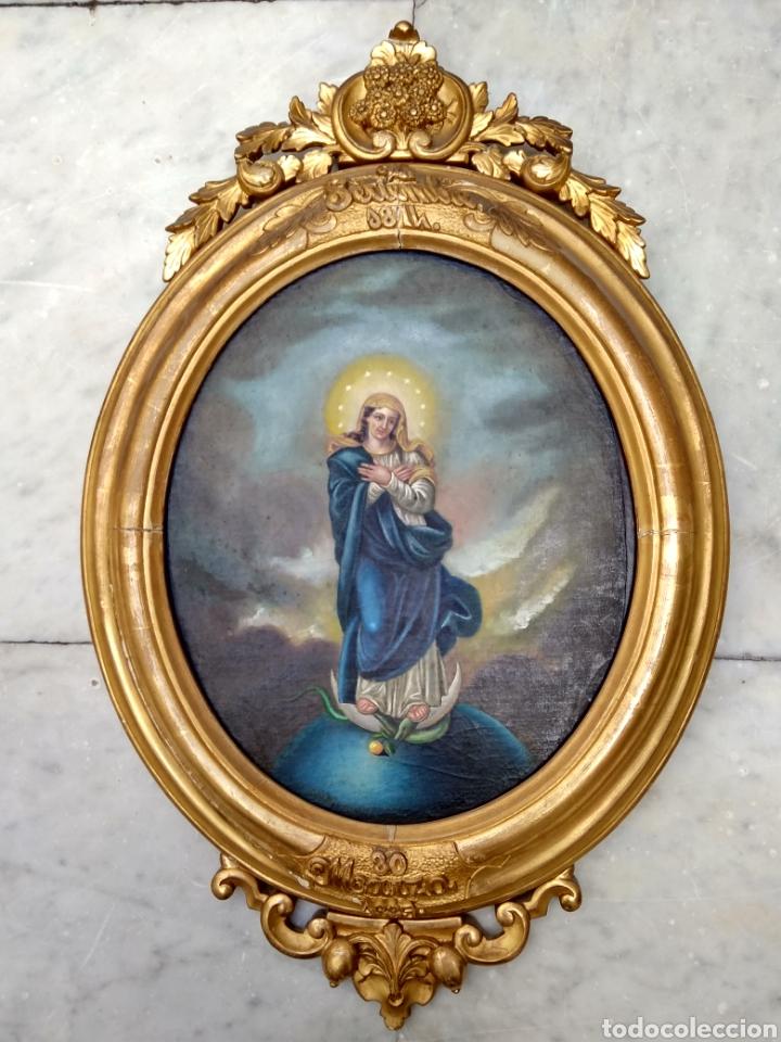 VIRGEN INMACULADA, PINTURA ÓLEO SOBRE TABLA, SIGLO XIX (Arte - Arte Religioso - Pintura Religiosa - Oleo)