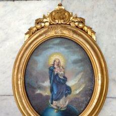 Arte: VIRGEN INMACULADA, PINTURA ÓLEO SOBRE TABLA, SIGLO XIX. Lote 116330927