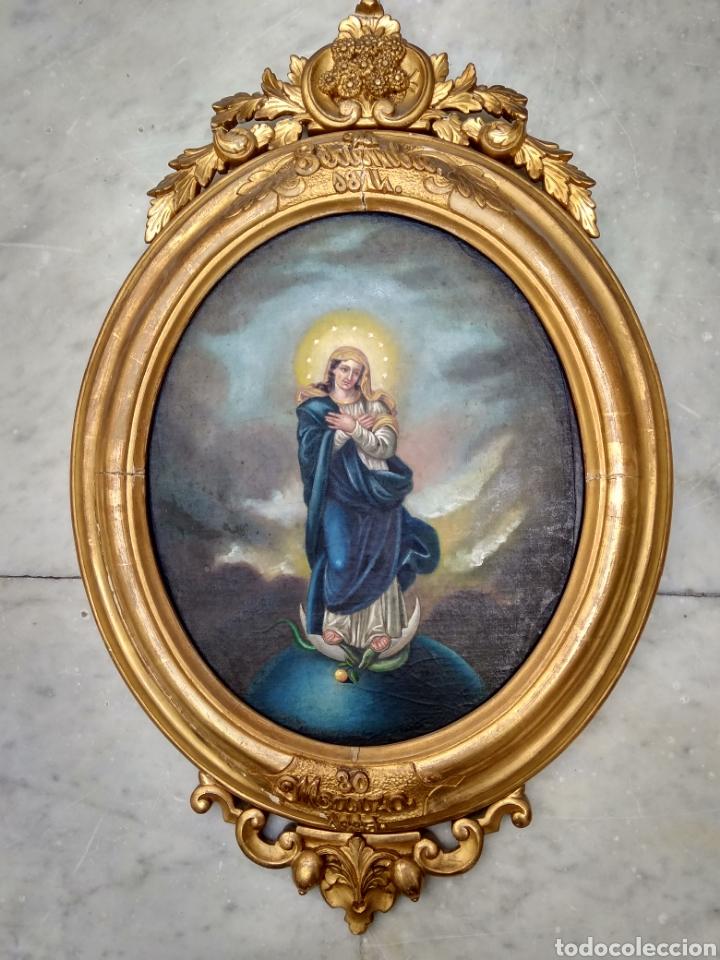 Arte: Virgen Inmaculada, Pintura óleo sobre tabla, siglo XIX - Foto 7 - 116330927