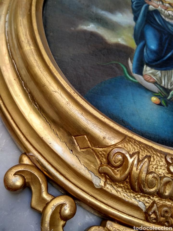 Arte: Virgen Inmaculada, Pintura óleo sobre tabla, siglo XIX - Foto 11 - 116330927