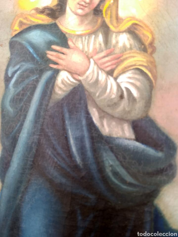 Arte: Virgen Inmaculada, Pintura óleo sobre tabla, siglo XIX - Foto 12 - 116330927