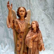 Arte: ESCULTURA TOBÍAS Y EL ANGEL, OLOT SIGLO XIX. Lote 116423399