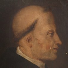 Arte - Retrato de perfil de Santo Tomás de Aquino. Oleo sobre tabla. Italia, siglos XVI-XVII. - 116487487