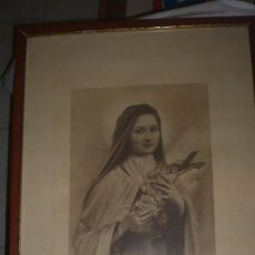 Art: LÁMINA ENMARCADA DE SANTA TERESA DEL NIÑO JESÚS (EN FRANCÉS). Lote 116553011