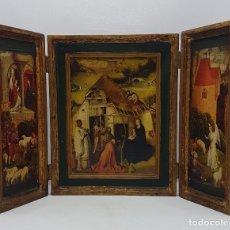 Art: MARAVILLOSO TRÍPTICO RELIGIOSO ANTIGUO FRANCÉS DE BELLA FACTURA CON PAN DE ORO.. Lote 143126281