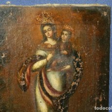 Arte: (M) OLEO RELIGIOSOS VIRGEN FINALES DEL S. XVIII SIN FIRMAR , 46 X 30'5 CM, VER FOTOGRAFIAS . Lote 116605527