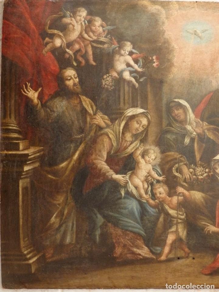 Arte: La Sagrada Familia y San Juanito. Oleo sobre tabla. Italia, siglo XVII. - Foto 9 - 115960783