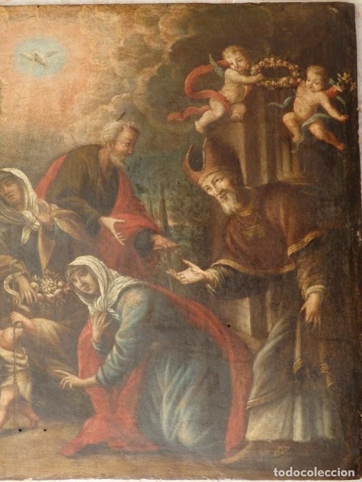 Arte: La Sagrada Familia y San Juanito. Oleo sobre tabla. Italia, siglo XVII. - Foto 8 - 115960783