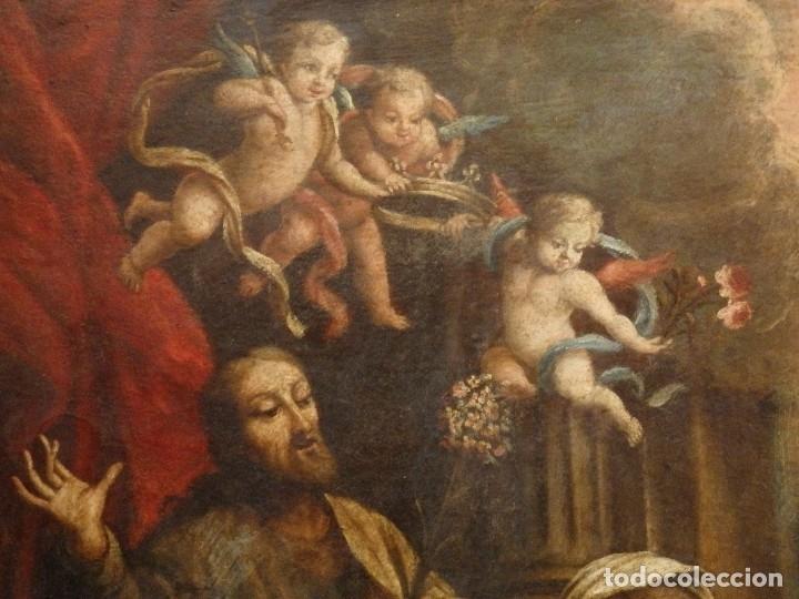 Arte: La Sagrada Familia y San Juanito. Oleo sobre tabla. Italia, siglo XVII. - Foto 6 - 115960783