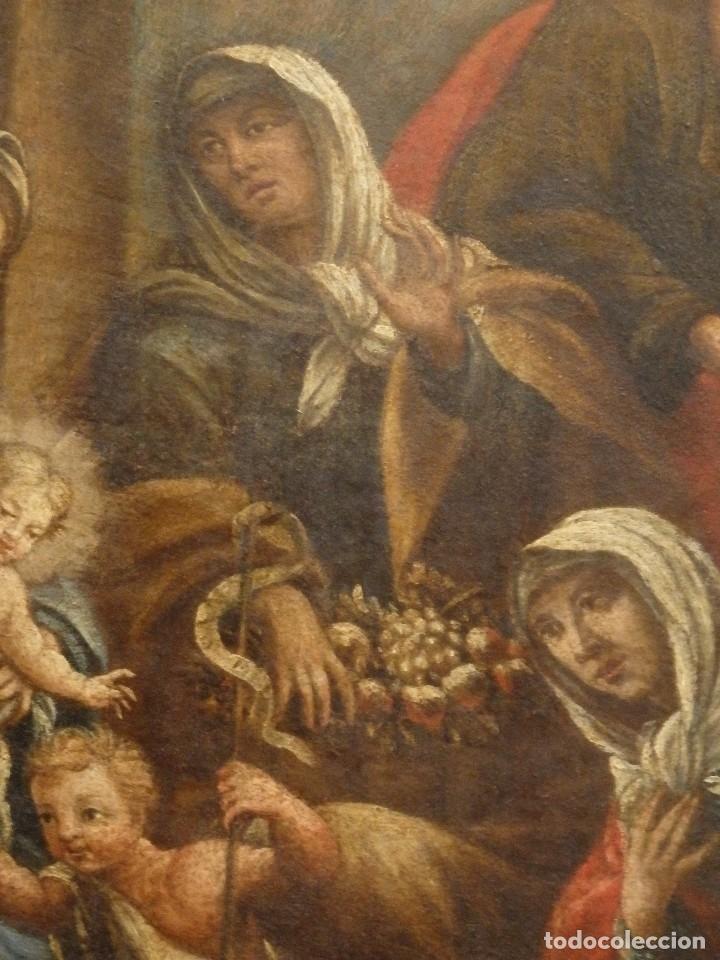 Arte: La Sagrada Familia y San Juanito. Oleo sobre tabla. Italia, siglo XVII. - Foto 10 - 115960783