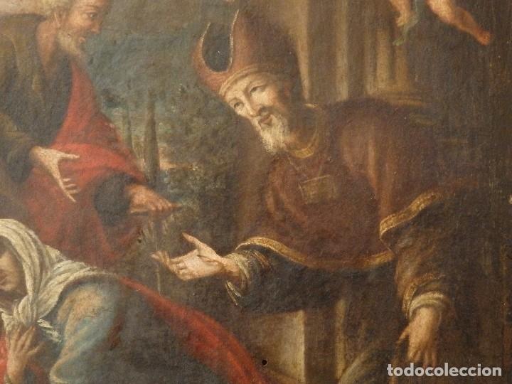 Arte: La Sagrada Familia y San Juanito. Oleo sobre tabla. Italia, siglo XVII. - Foto 11 - 115960783