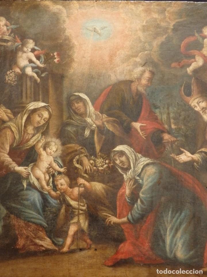 Arte: La Sagrada Familia y San Juanito. Oleo sobre tabla. Italia, siglo XVII. - Foto 12 - 115960783