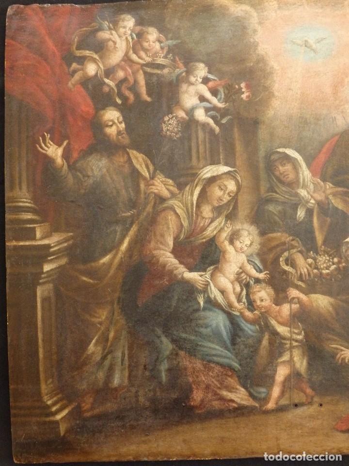 Arte: La Sagrada Familia y San Juanito. Oleo sobre tabla. Italia, siglo XVII. - Foto 16 - 115960783