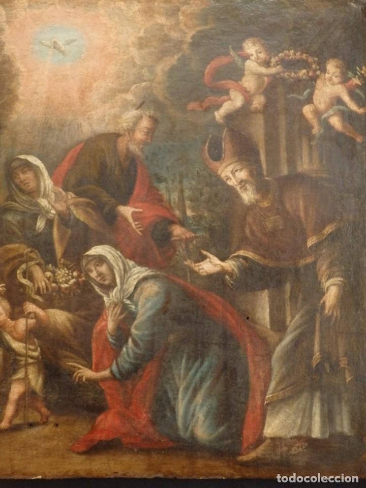 Arte: La Sagrada Familia y San Juanito. Oleo sobre tabla. Italia, siglo XVII. - Foto 17 - 115960783