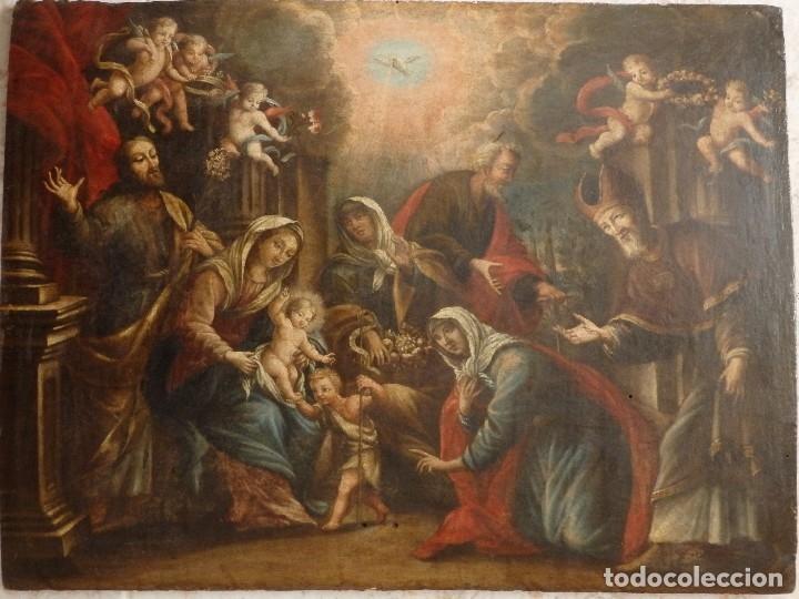 Arte: La Sagrada Familia y San Juanito. Oleo sobre tabla. Italia, siglo XVII. - Foto 3 - 115960783