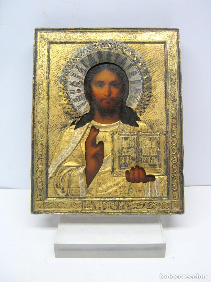 IMPORTANTE ICONO RUSO KOKOSHNIK . C. 1900 ANTIGUO PLATA ORO SELLO 84 (Arte - Arte Religioso - Iconos)