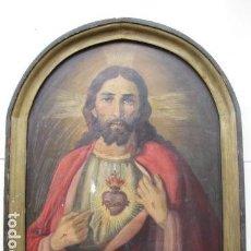 Arte: OLEO SOBRE TABLA. CORAZÓN DE JESÚS. 53 CM X 40 CM. Lote 116959531