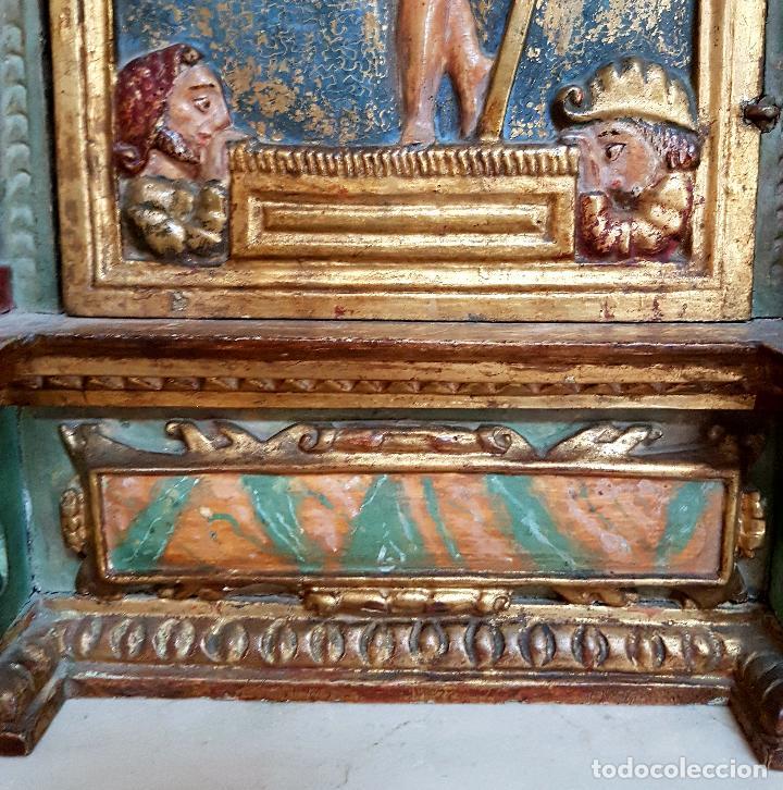 Arte: DE MUSEO,LA RESURRECCION DE CRISTO,PUERTA DE SAGRARIO ESTOFADA Y DORADA,ESPAÑA,S. XVII - Foto 5 - 117034191