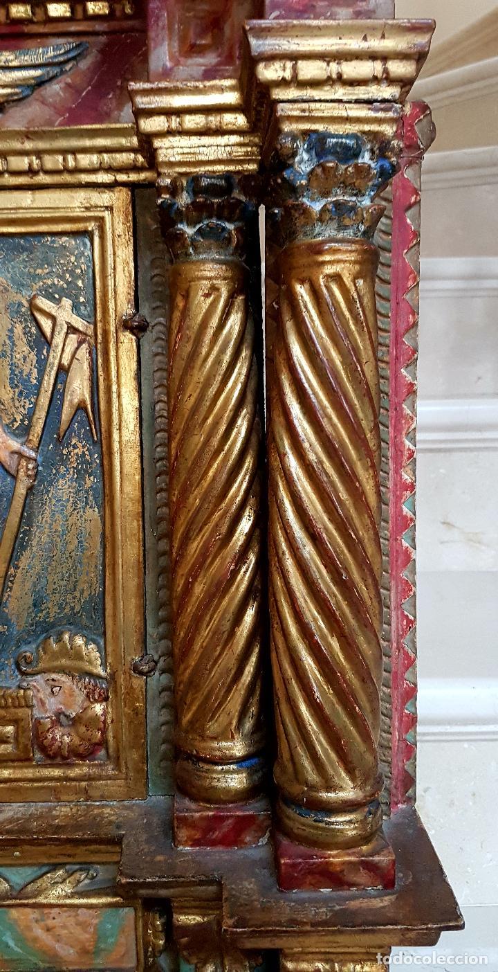 Arte: DE MUSEO,LA RESURRECCION DE CRISTO,PUERTA DE SAGRARIO ESTOFADA Y DORADA,ESPAÑA,S. XVII - Foto 8 - 117034191