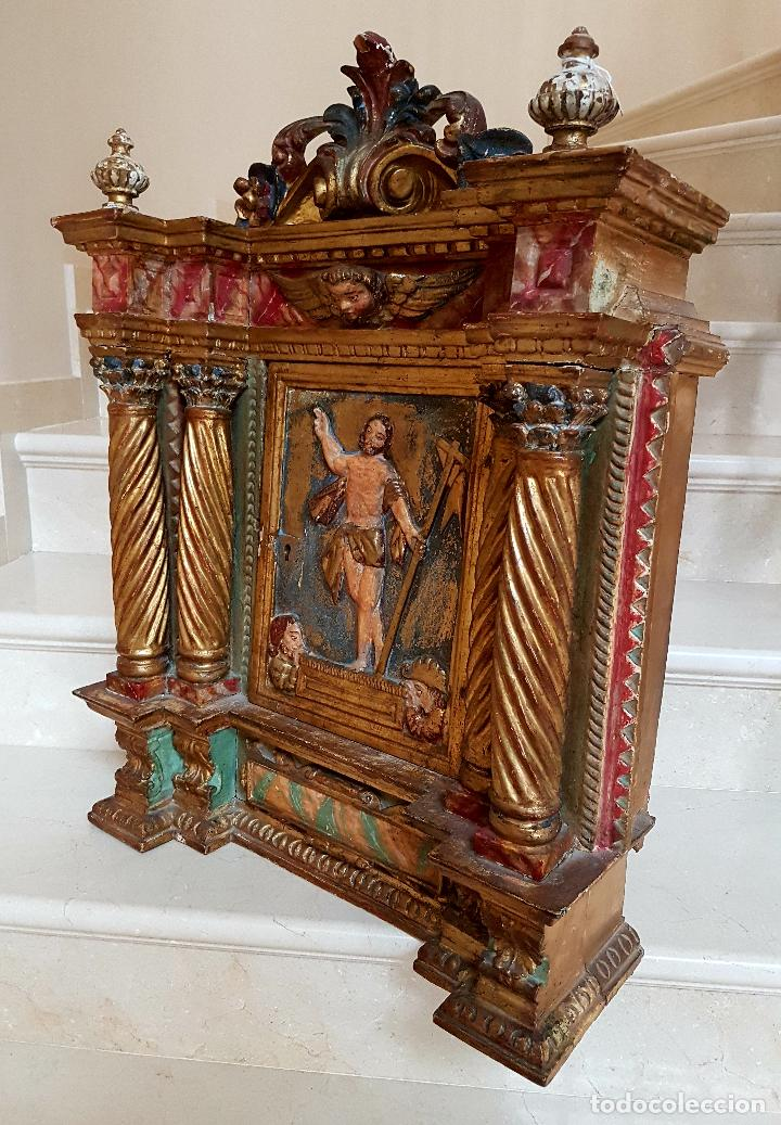 Arte: DE MUSEO,LA RESURRECCION DE CRISTO,PUERTA DE SAGRARIO ESTOFADA Y DORADA,ESPAÑA,S. XVII - Foto 19 - 117034191