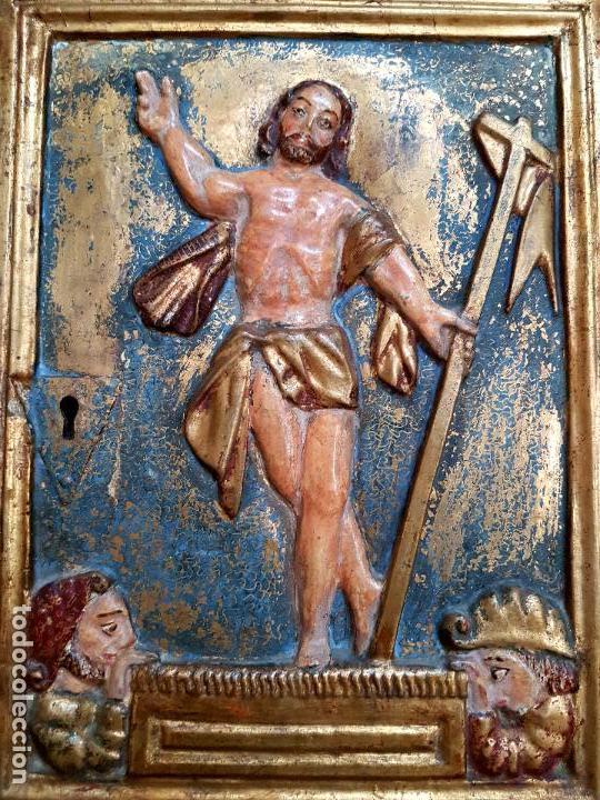 Arte: DE MUSEO,LA RESURRECCION DE CRISTO,PUERTA DE SAGRARIO ESTOFADA Y DORADA,ESPAÑA,S. XVII - Foto 20 - 117034191