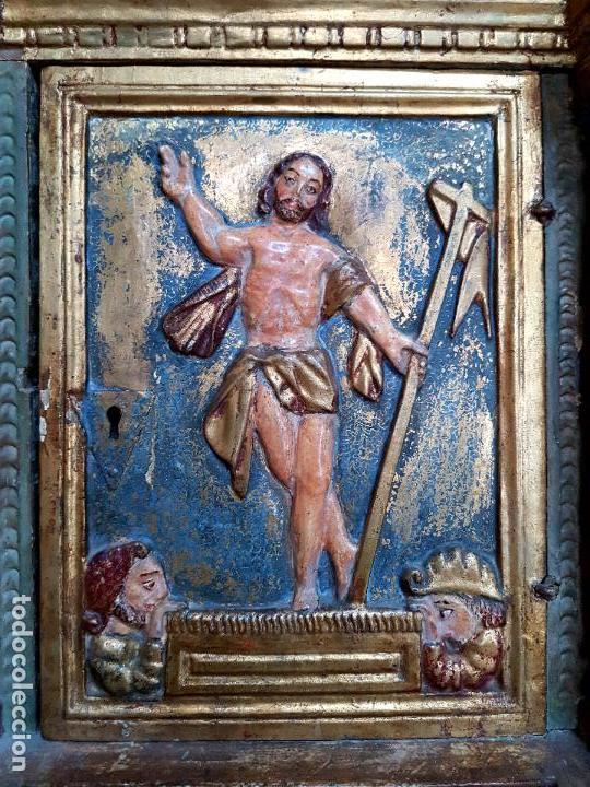 Arte: DE MUSEO,LA RESURRECCION DE CRISTO,PUERTA DE SAGRARIO ESTOFADA Y DORADA,ESPAÑA,S. XVII - Foto 21 - 117034191
