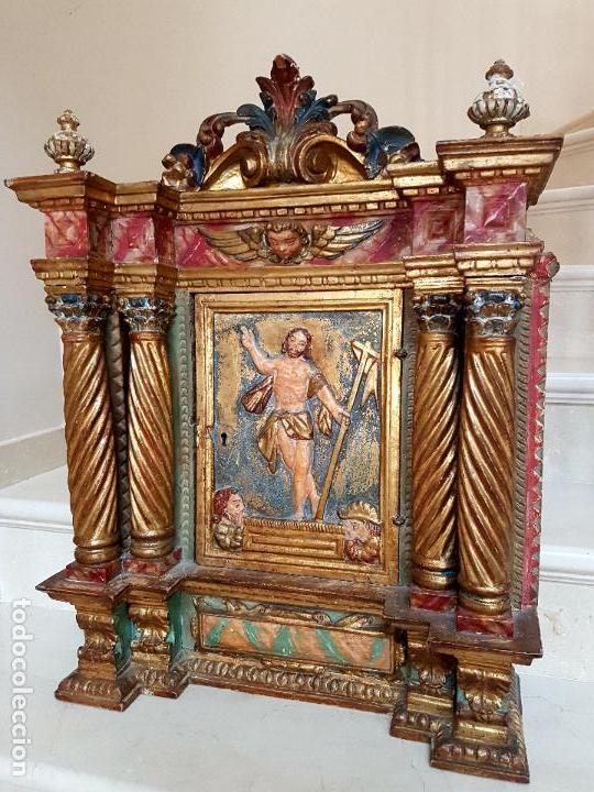 Arte: DE MUSEO,LA RESURRECCION DE CRISTO,PUERTA DE SAGRARIO ESTOFADA Y DORADA,ESPAÑA,S. XVII - Foto 26 - 117034191