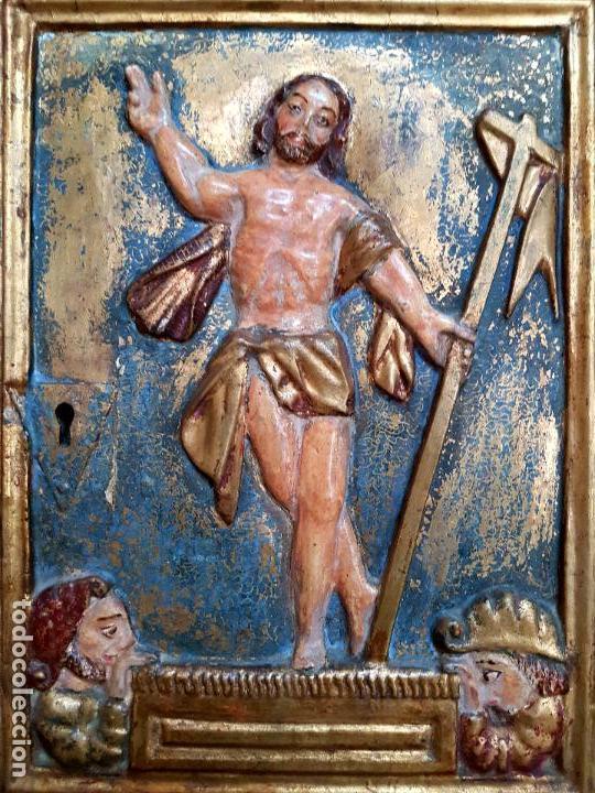 Arte: DE MUSEO,LA RESURRECCION DE CRISTO,PUERTA DE SAGRARIO ESTOFADA Y DORADA,ESPAÑA,S. XVII - Foto 27 - 117034191