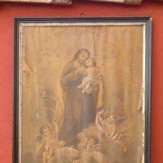 Arte: GRAN MARCO DE MADERA EN NEGRO Y PLATA , PARA RESTAURAR, CON LÁMINA RELIGIOSA DE A. NADAL. SG:XIX. Lote 117103431