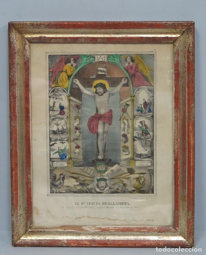 INTERESANTE LITOGRAFIA COLOREADA. CRISTO DE ZALAMEA. ELCHE. SIGLO XIX (Arte - Arte Religioso - Litografías)