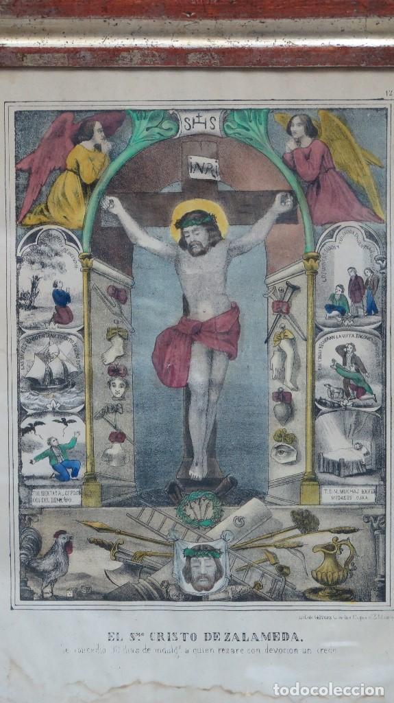Arte: INTERESANTE LITOGRAFIA COLOREADA. CRISTO DE ZALAMEA. ELCHE. SIGLO XIX - Foto 2 - 117159247