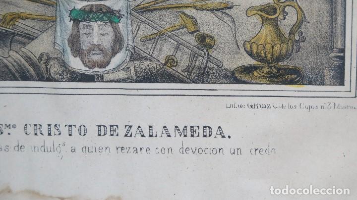 Arte: INTERESANTE LITOGRAFIA COLOREADA. CRISTO DE ZALAMEA. ELCHE. SIGLO XIX - Foto 3 - 117159247