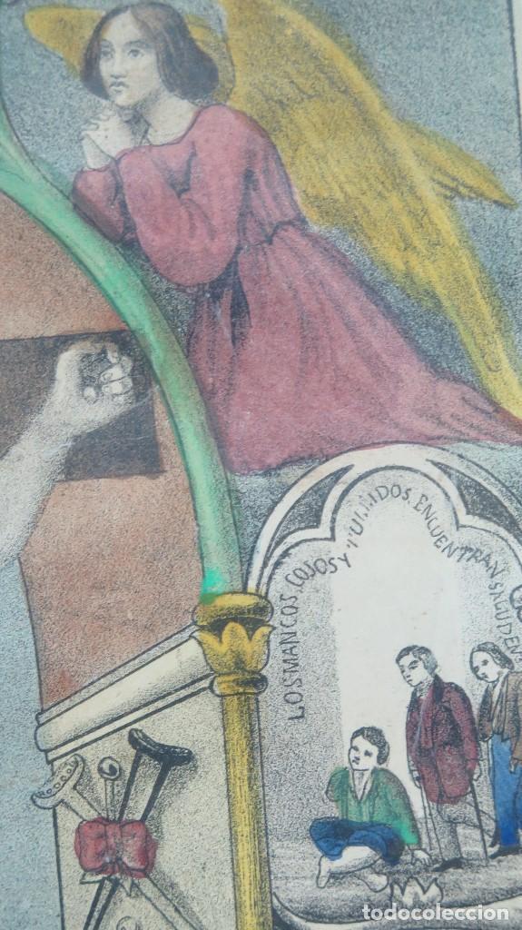Arte: INTERESANTE LITOGRAFIA COLOREADA. CRISTO DE ZALAMEA. ELCHE. SIGLO XIX - Foto 7 - 117159247