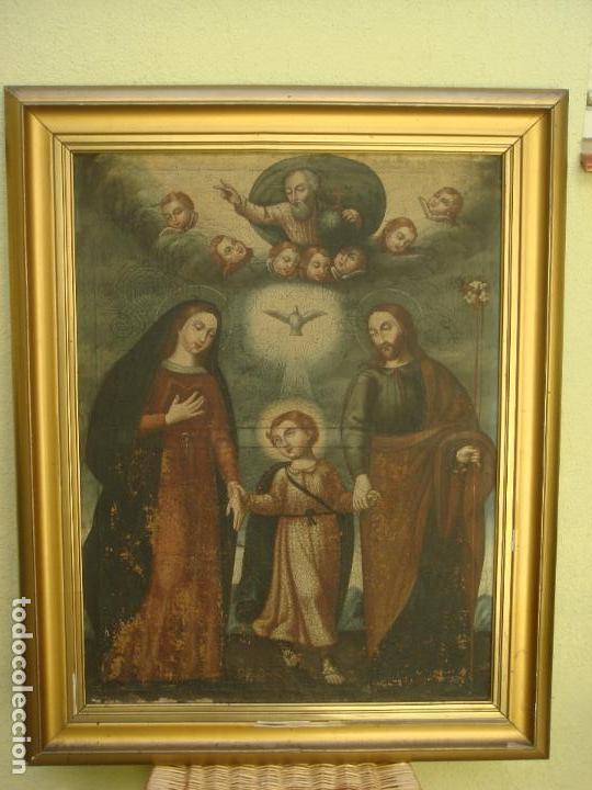 ANTIGUA PINTURA DE LA SAGRADA FAMILIA. O/L. FIRMADO GERONIMO BONETE. S/XVII - XVIII (Arte - Arte Religioso - Pintura Religiosa - Oleo)